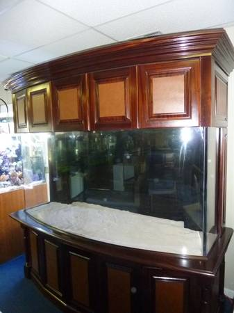 New Bow-Front 300+G Salt Water/Reef Aquarium Tank &Custom Cabinetry! - $9800 (Greenwich, CT.)