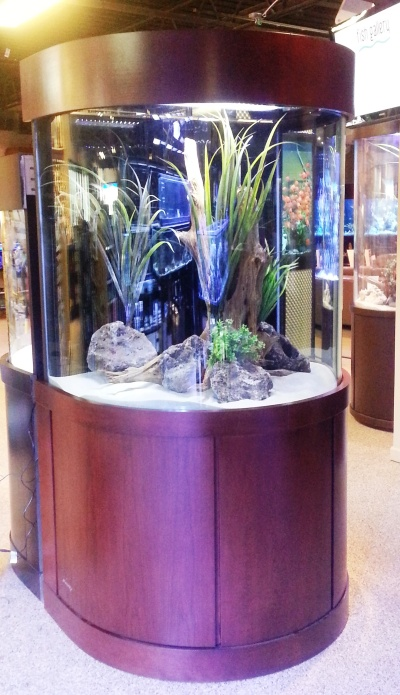 """225 gallon Glass Bullnose, 44"""" x 31"""" x 42"""", L x W x H with custom Contemporary Stand and Canopy"""