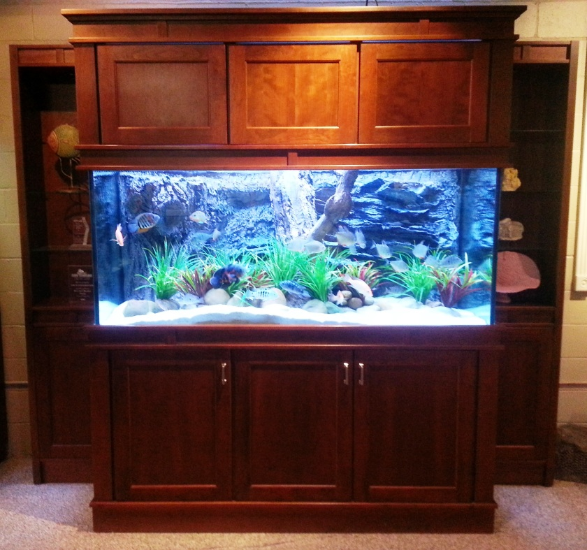 "300 gallon freshwater, 72"" x 30"" x 30"", L x W x H with custom Freshwater Insert on custom Malibu Stand with Full Upper Cabinets and side Pier Cabinets"
